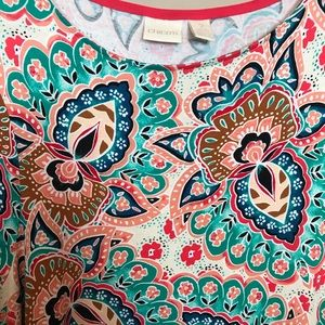 Chico's Tops - Bright Paisley 3/4 sleeve pullover